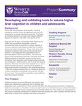 Developing and validating tools to assess higher level cognition in children and adolescents