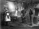 London Street Railway repair shop with blacksmith Bill Constable and daughter Vera