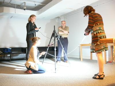 Gianfranco Pocobene, Alison Murray, Brandi Lee MacDonald, Nenagh Hathaway undertake RTI testing on the museum's Van Gogh painting.