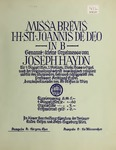 Mass, H. XXII, 7, B-flat Major. Vocal Score