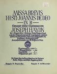 Mass, H. XXII, 7, B-flat Major. Vocal Score by Western University